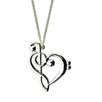 Clef Heart Necklace Silver