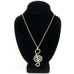 Treble Clef Necklace Gold